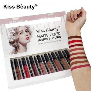 Kiss Beauty Long Lasting mate Liquid lip gloss + lip liner Waterproof