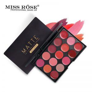 Miss Rose 15 Colors Matte Lipstick Palette Waterproof